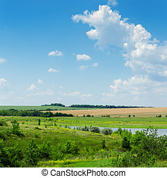 green landscape with river under blue cloudy sky