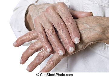 Senior woman's hands isolated on white background