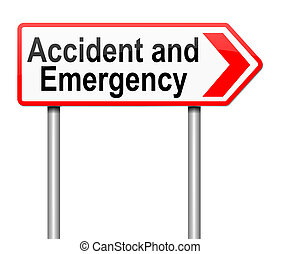Accident and Emergency sign. - Illustration depicting a sign...