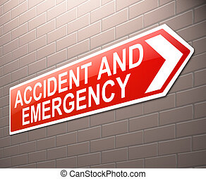 Accident and Emergency sign - Illustration depicting a sign...