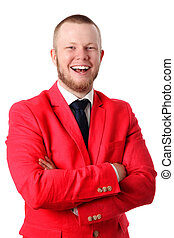 Young businessman in a red jacket. White background.