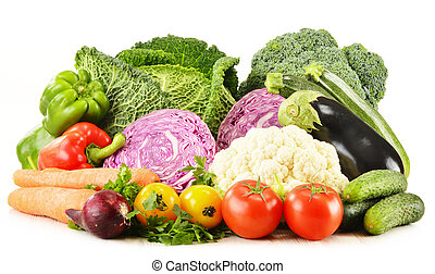 Variety of fresh organic vegetables isolated on white