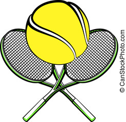Tennis ball with crossed rackets - Vector illustration of a...