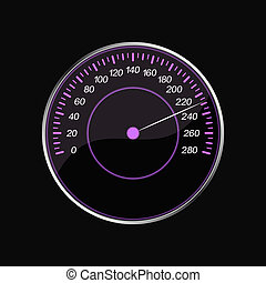 Speedometer on a black background. Violet scale.