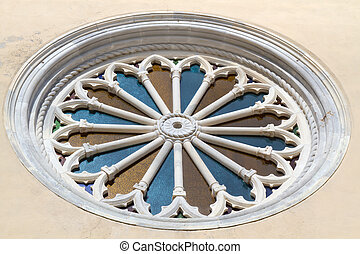 "Church window of ""Santa Tecla"" church in the village of..."