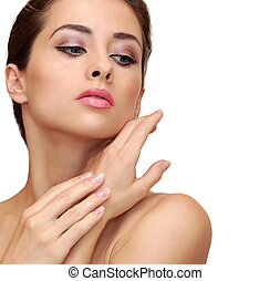 Beautiful woman touching hands clean skin isolated Closeup...