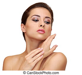 Beautiful woman with clean face skin posing isolated on...
