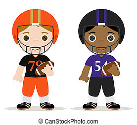 football players - set of two football players childrens