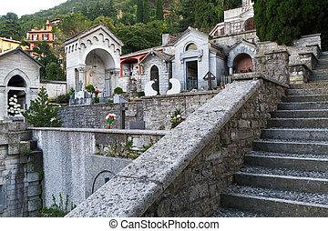 como, histórico, Itália, lago, cemitério