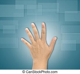 Hand  touching screen