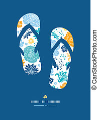 Blue and yellow flower silhouettes flip flops decor pattern...