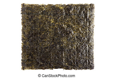 A sheet of dried seaweed close up isolated on white