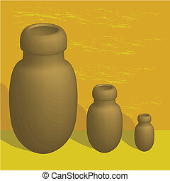 3-D jars - 3-D illustration of old pot jars for storing...