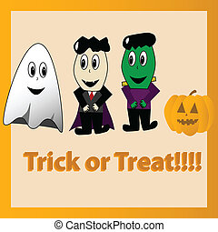 Trick or treat - Cartoon illustration of Halloween...