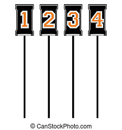 Football down markers - Set of markers for American football...