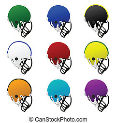 Football helmets - Collection set of different colored...