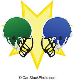 Football battle - Two football helmets facing each other,...