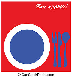 Bon apptit - Icon illustration of plate with fork, knife and...