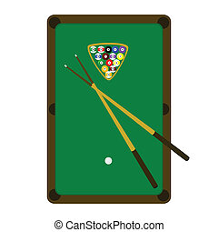 Snooker pool table - Illustration of a snooker pool table,...