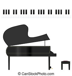 Piano and keys - Illustration of a piano and piano keys, on...