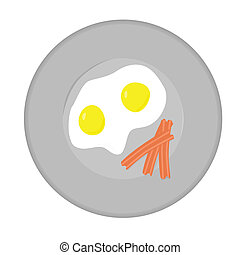Bacon and eggs - Illustration of a plate with eggs and bacon