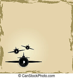 Airplane background - Background illustration with old style...
