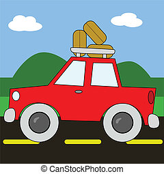 Road trip 2 - Vector cartoon illustration of a red car,...