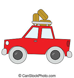 Road trip - Vector cartoon illustration of a red car, packed...