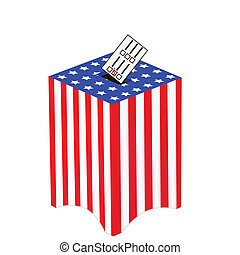 United States ballot box - Illustration of a ballot box with...