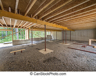 Basement construction under a new house