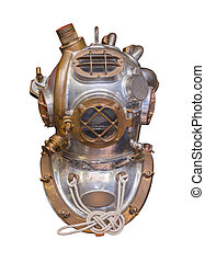 Antique deep sea diving helmet used in the 20th century,...
