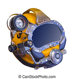 Deep sea diving helmet, isolated - Modern deep sea diving...