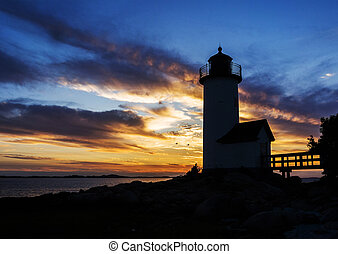 Annisquam lighthouse at sunset off the coast of Gloucester,...