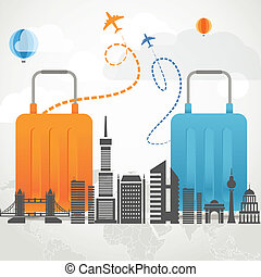 Vacation traveling composition concept with two bags and...