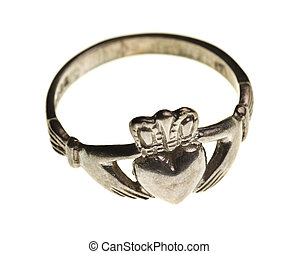 vintage traditional Claddagh ring isolated on a pure white...