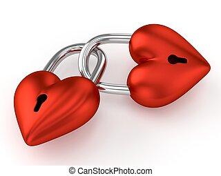 3D Heart Padlocks