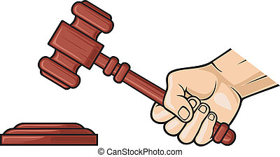 wooden gavel in hand