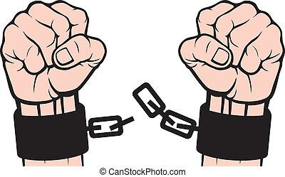 mano, roto, cadenas, (fetters)