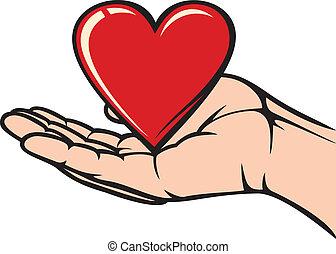 mão, segurando, Coração