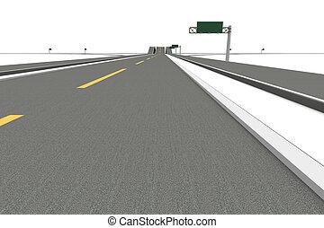 Highway Interchange - A Highway interchange. 3D rendered...