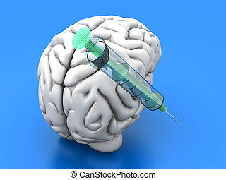 Brain Injection - Syringes injecting substances into a human...
