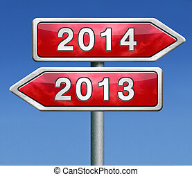new year 2014 next and previous years the future starting...