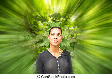 Green mind - Abstract concept of a young woman perceiving...