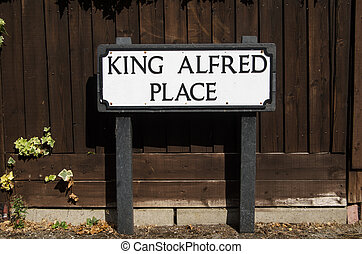 King Alfred Sign, Winchester - Road sign for one of the many...