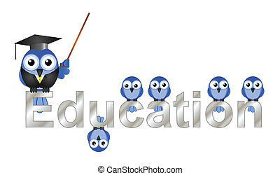 Education text and teacher bird and pupils isolated on white...