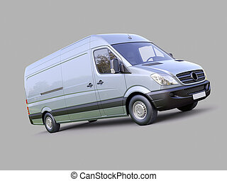 Commercial van - Modern commercial van on a gray background
