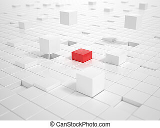 White Cubes and one red Cube building a Platform