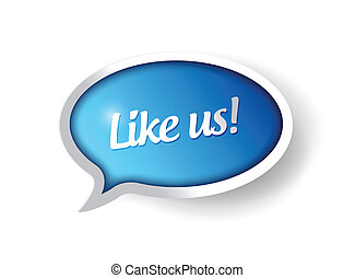 like us message communication bubble illustration design...