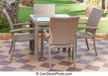 Cane furniture - Cane outdoor patio furniture with glass...