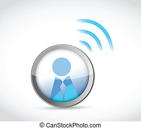 icon button with a wifi connection. illustration